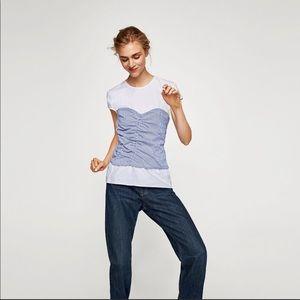 Zara White Tee With Blue Striped Corset XS